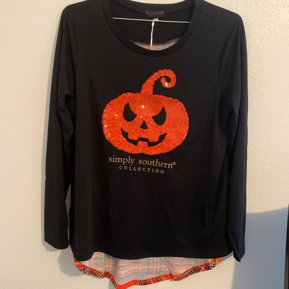 Simply Southern Tops - Simply Southern Pumpkin Shirt Large plaid New